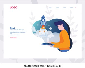 Boost your business, Startup your project for website and mobile website, Vector illustration, Stages of launching a startup From idea to finished product, Mobile app design, Develop, web development.