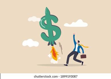Augmentez vos revenus, votre croissance augmentez vos revenus ou vos profits, augmentez votre concept de revenu d'investissement, heureux propriétaire d'entreprise ou investisseur avec de l'argent en dollars, lancez une fusée propulsée dans le ciel