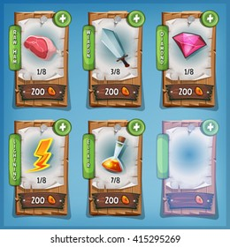 Booster And Resources Wood Panels For Game Ui/ Illustration of funny cartoon design wood panel, with resource icons, weapon, magic potion, diamond and buying credits, for game ui app on tablet pc