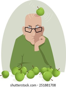 Boosting Creative Thinking. Gloomy man is hit on a head by an apple, metaphor for a creative block, vector illustration, no transparencies