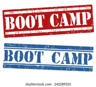 Boot camp grunge rubber stamps on white background, vector illustration