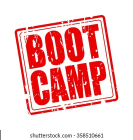 BOOT CAMP red stamp text on white