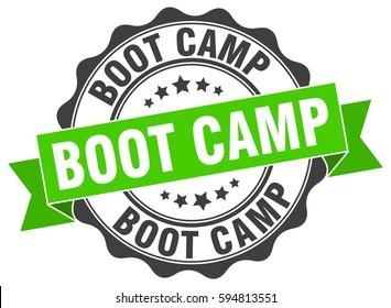 boot camp. stamp. sticker. seal. round grunge vintage ribbon boot camp sign