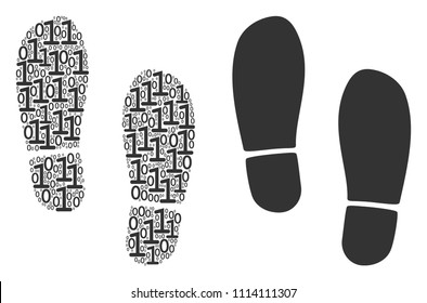 Boot footprints composition icon of binary digits in different sizes. Vector digital symbols are composed into boot footprints mosaic design concept.