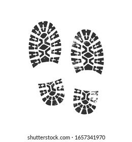 Boot footprints with grunge effect. Vector illustration.