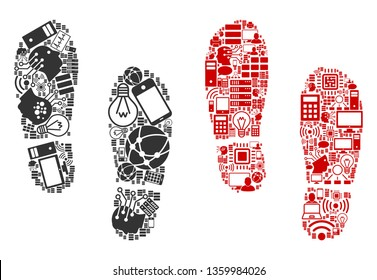 Boot Footprints mosaic icons constructed for bigdata illustrations. Vector boot footprints mosaics are combined from computer, calculator, connections, wi-fi, network icons into abstract compositions.