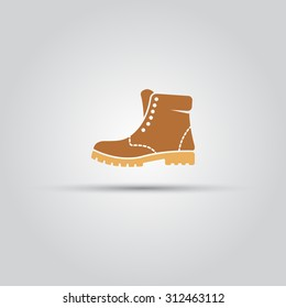 Boot isolated vector icon, high shoe icon, working boot icon, men shoe icon
