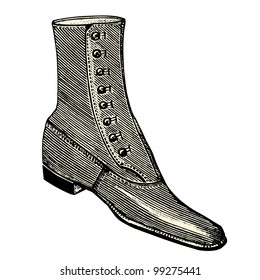 Boot for men  - vintage engraved illustration -  Catalog of a French department store - Paris 1909