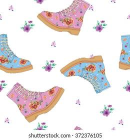 Boot pathern,stylish floral pattern