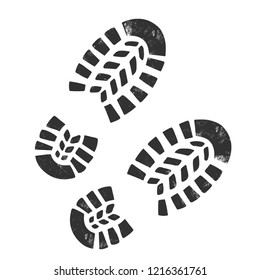Boot Print isolated on white.Grunge effect.Vector illustration.