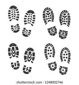 Boot Prints Collection.Vector illustration.