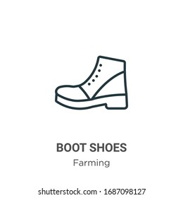 Boot shoes outline vector icon. Thin line black boot shoes icon, flat vector simple element illustration from editable farming concept isolated stroke on white background