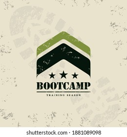 Bootcamp Fitness Body Workout Training Extreme Sport Outdoor Rough Vector Concept Design On Grunge Background