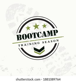 Bootcamp Fitness Body Workout Training Extreme Sport Outdoor Rough Vector Concept. Boot camp grunge rubber stamp on grunge background, vector illustration