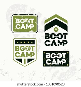Bootcamp Fitness Body Workout Training Extreme Sport Outdoor Rough Vector Concept. Set of 4 Design On Grunge Background.