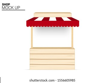 Booth Mock up wooden Shop, indoor Kiosk, store awning Display for Sale Marketing Promotion Exhibition on White Background Illustration vector. business object concept design.