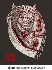 booth photo of Keffiyeh - traditional Arabic headgear isolated on black