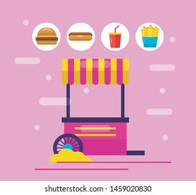 booth snack stickers soda hamburger outdoor vector illustration