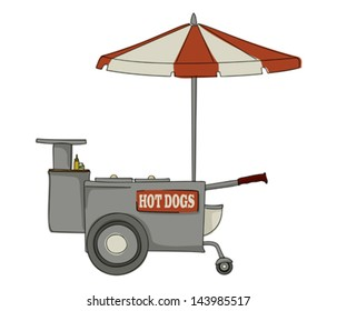 Booth stand hot dog on white background