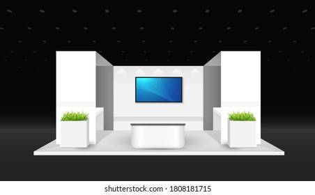 Booth template. corporate identity. creative exhibition stand vector illustration design.