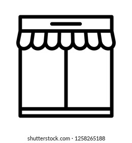 Booth vector, grocery store related line design icon