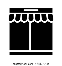 Booth vector, grocery store related solid design icon