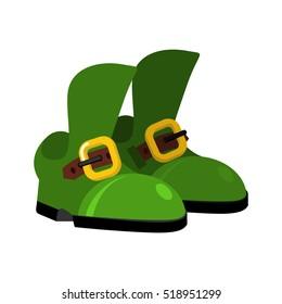 Boots Christmas elf Santa Claus helper. Green shoes Magic dwarf for new year