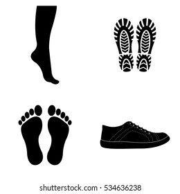 Boots and footprints icons vector set