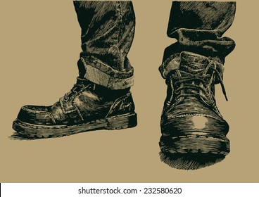 boots and jeans. engraving style. vector illustration.