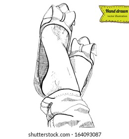 Boots  in vector on white background, shoes hand drawn, realistic sketchy illustration isolated