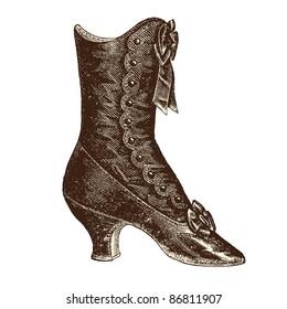 """Boots - vintage engraved illustration - """"La mode illustrée"""" by Firmin-Didot et Cie in 1882 France"""