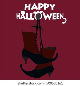 Boots witches, happy on Halloween, purple, red and black.