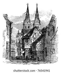 Boppard town in  Rhein-Hunsruck-Kreis, Rhineland-Palatinate, Germany, old engraved illustration of the  town, Boppard, Rhein-Hunsruck-Kreis, Germany, 1890s. Trousset Encyclopedia
