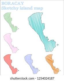 Boracay sketchy island. Ideal hand drawn island. Immaculate childish style Boracay vector illustration.