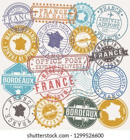 Bordeaux France. Stamp. Vector Art. Postal Passport. Travel Design Set. Postage.