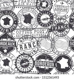 Bordeaux France Stamps. City Stamp Vector Art. Postal Passport Travel. Design Set Pattern.