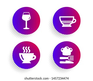 Bordeaux glass, Coffee and Bombon coffee icons simple set. Halftone dots button. Food sign. Wine glass, Cappuccino, Cafe bombon. Chef hat. Food and drink set. Classic flat bordeaux glass icon. Vector