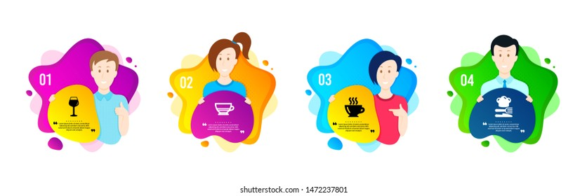 Bordeaux glass, Coffee and Bombon coffee icons simple set. People shapes timeline. Food sign. Wine glass, Cappuccino, Cafe bombon. Chef hat. Food and drink set. Dynamic shape offer. Vector