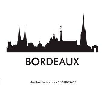Bordeaux skyline silhouette vector of famous places