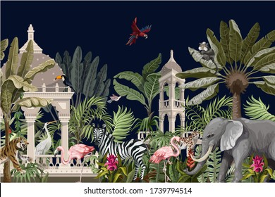 Border with ancient arbor and wild animals in the jungle. Vector.