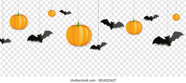 Border With Bats And Pumpkins Isolated Transparent Background With Gradient Mesh, Vector Illustration