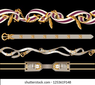 Border with belts, chain and braid for fabric design
