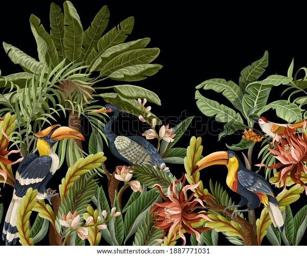Border with birds and tropical leaves and flowers for interior. Vector