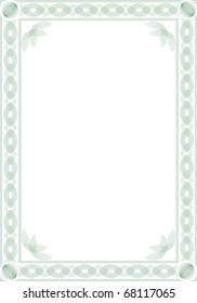 Border for blank diploma or certificate. Guilloche style. Format  A4.