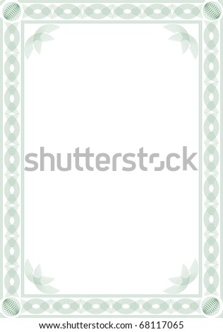 border blank diploma certificate guilloche style stock vector
