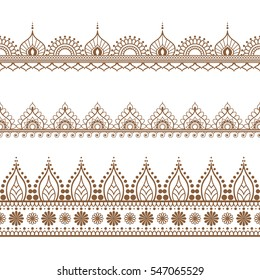 Border brown henna elements in Indian mehndi style for card or tattoo. Vector illustration isolated on white background.