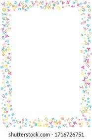 Border with casual letters fly on white background. Abstract backdrop with alphabet. Random colored letters pattern. Frame with mix of chance Latin ABC. Vector illustration with empty place for text.