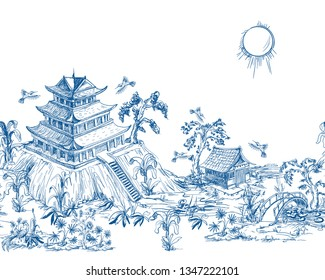 Border in chinoiserie style for fabric or interior design.