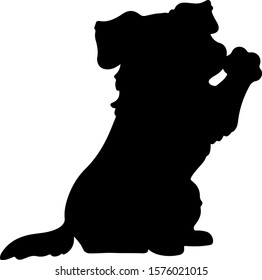 Border Collie waving hand silhouette