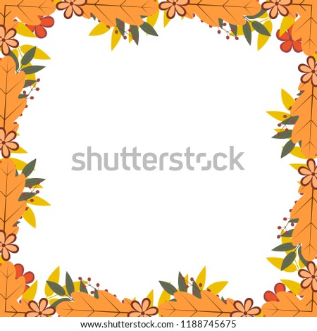 border colorful autumn leaves berries fall stock vector royalty